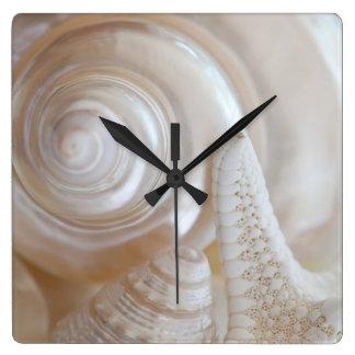 White Seashells Starfish Tropical Beach Sea Shells Square Wall Clock