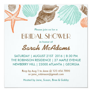White Seashells Wedding Bridal Shower Invitation