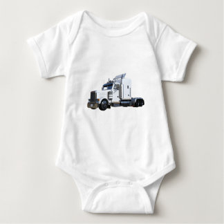 White Semi Tractor Trailer Baby Bodysuit