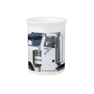 White Semi Tractor Trailer Beverage Pitcher