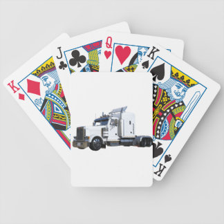 White Semi Tractor Trailer Bicycle Playing Cards