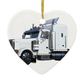 White Semi Tractor Trailer Ceramic Ornament