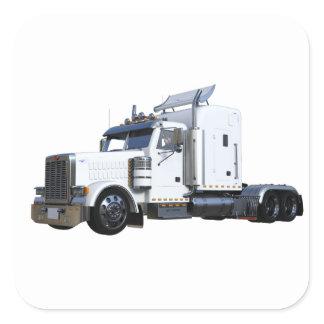 White Semi Tractor Trailer Square Sticker