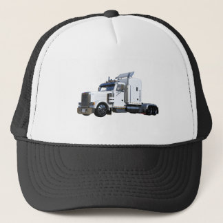 White Semi Tractor Trailer Trucker Hat