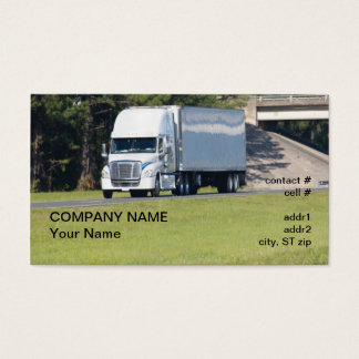 white semi truck and trailer business card
