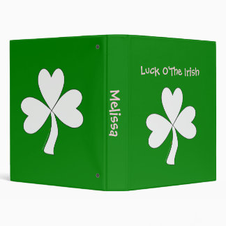 White Shamrock St. Patrick's Day Irish Good Luck 3 Ring Binder