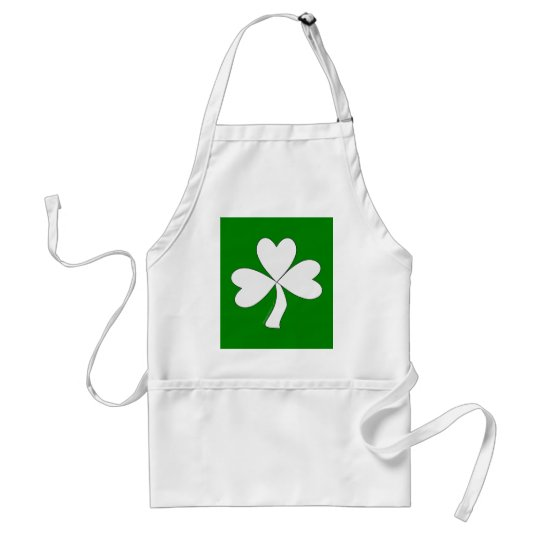 White Shamrock St. Patrick's Day Irish Good Luck Adult Apron