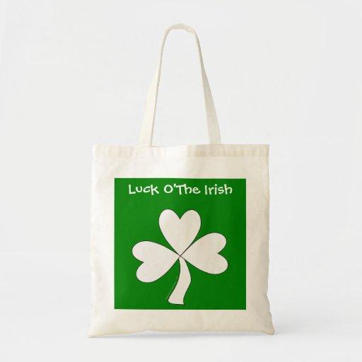 White Shamrock St. Patrick's Day Irish Good Luck Bags