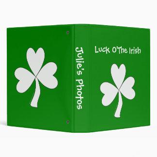 White Shamrock St. Patrick's Day Irish Good Luck Binder