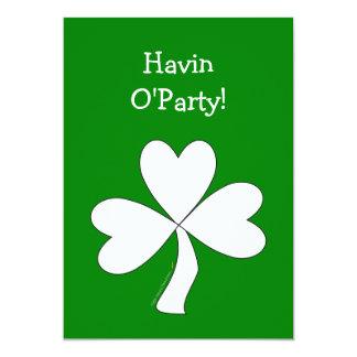 White Shamrock St. Patrick's Day Irish Good Luck 5x7 Paper Invitation Card