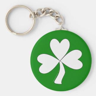 White Shamrock St. Patrick's Day Irish Good Luck Key Chain