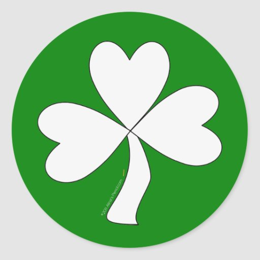 White Shamrock St. Patrick's Day Irish Good Luck Round Sticker