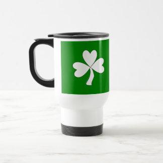 White Shamrock St. Patrick's Day Irish Good Luck Travel Mug