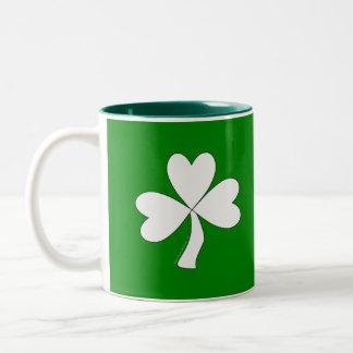 White Shamrock St. Patrick's Day Irish Good Luck Two-Tone Coffee Mug