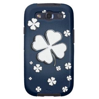 White shamrocks on blue background Galaxy Case Galaxy S3 Cases