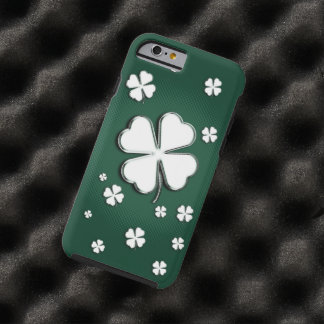 White shamrocks on green background tough iPhone 6 case