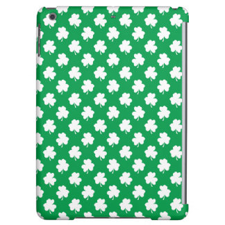 White Shamrocks on Green St.Patrick's Day Clover iPad Air Cases