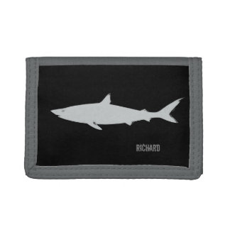 white shark on black personalized tri-fold wallets