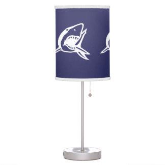 White Shark on blue background Lamp