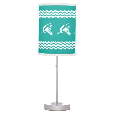 Beach Themed White Shark on blue background Table Lamp
