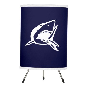 Beach Themed White Shark on blue background Tripod Lamp