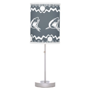 Beach Themed White Shark on Grey background Desk Lamp