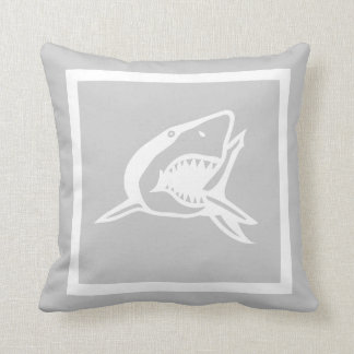 white  shark on grey pillow