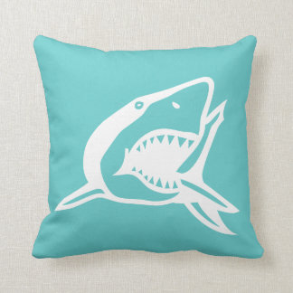 white  shark on teal blue pillow