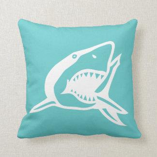 white  shark on teal blue pillow