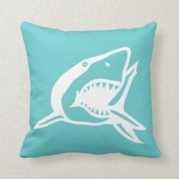 Beach Themed white  shark on teal blue pillow