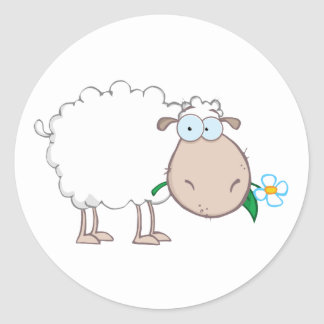 White Sheep Cartoon Character Eating A Flower Classic Round Sticker