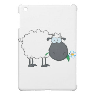 White Sheep Cartoon Character Eating A Flower Cover For The iPad Mini