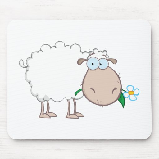 White Sheep Cartoon Character Eating A Flower Mousepads