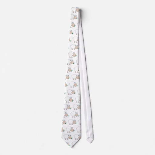White Sheep Cartoon Character Eating A Flower Neck Tie