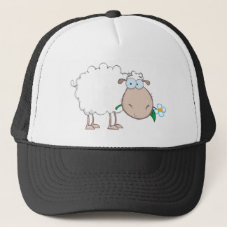 White Sheep Cartoon Character Eating A Flower Trucker Hat