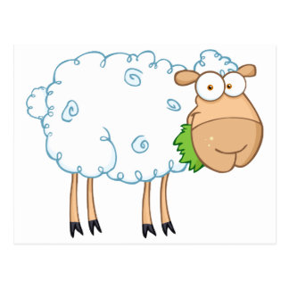 White Sheep Cartoon Character Postcard