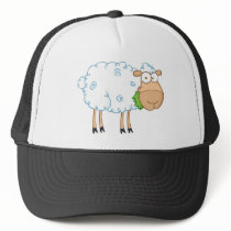 White Sheep Cartoon Character Trucker Hat