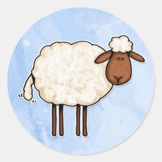 white sheep classic round sticker