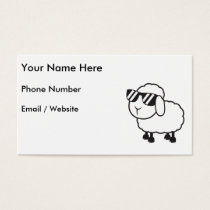 White Sheep in Sunglasses Cartoon Business Card