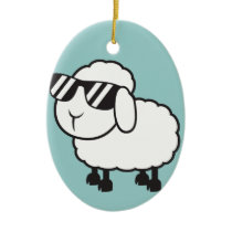 White Sheep in Sunglasses Cartoon Ceramic Ornament