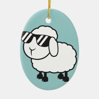 White Sheep in Sunglasses Cartoon Ceramic Ornament