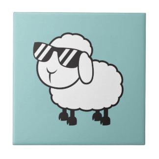 White Sheep in Sunglasses Cartoon Ceramic Tile