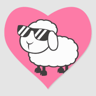 White Sheep in Sunglasses Cartoon Heart Sticker