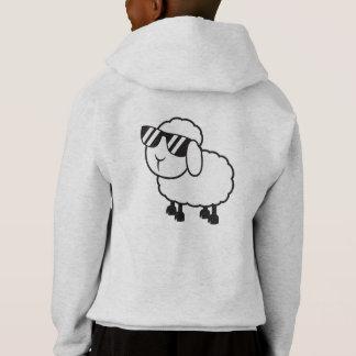 White Sheep in Sunglasses Cartoon Hoodie