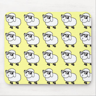 White Sheep in Sunglasses Cartoon Mouse Pad
