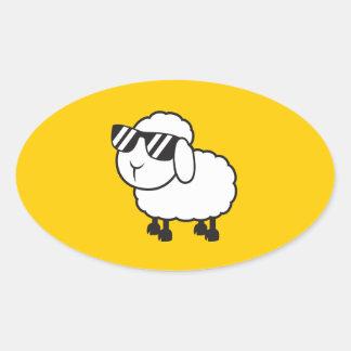 White Sheep in Sunglasses Cartoon Oval Sticker
