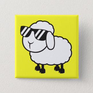 White Sheep in Sunglasses Cartoon Pinback Button