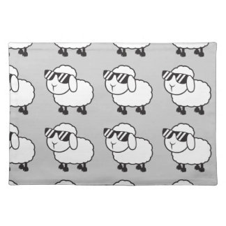 White Sheep in Sunglasses Cartoon Placemat