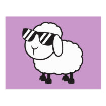 White Sheep in Sunglasses Cartoon Postcard