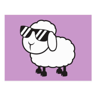 White Sheep in Sunglasses Cartoon Postcard